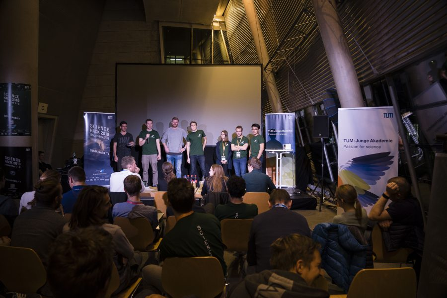 Podium for ITK at Science Hackathon of the TUM: Youth Academy.